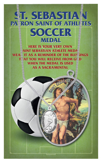 Oval Saint Sebastian Men'S Soccer Medal On 24-inch Chain