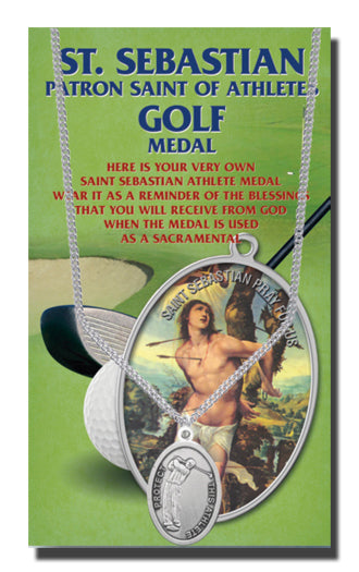 Oval Saint Sebastian Men'S Golf Medal On 24-inch Chain