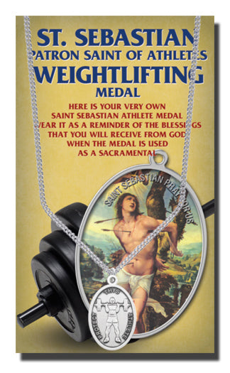 Oval Saint Sebastian Men'S Weight Lifting Medal On 24-inch Chain