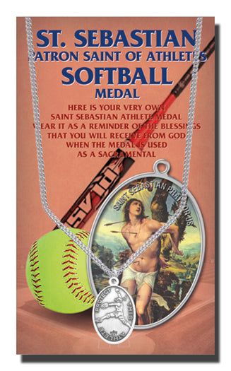 Oval Saint Sebastian Women'S Softball Medal 18-inch Chain