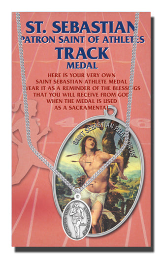 Oval Saint Sebastian Women'S Track Medal On 18-inch Chain