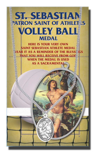 Oval Saint Sebastian Women'S Volleyball Medal 18-inch Chain