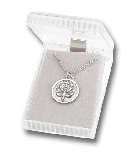 Pewter Round Confirmation Medal On 18-inch Chain Boxed