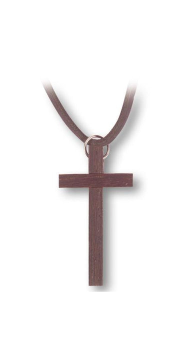 Wood Cross On 30-inch Leather Thong