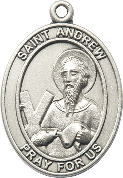 Silver Oxide Saint Andrew Keychain