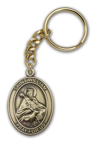 Antique Gold Saint William Keychain