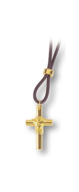1 1/4-inch Gold Sport Cross On 11-inch Adjustable Cord