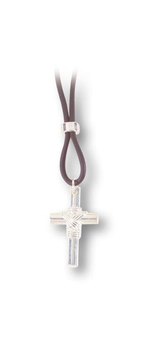 10-Pack - 1 1/4-inch Silver Sport Cross On 11-inch Adjustable Cord