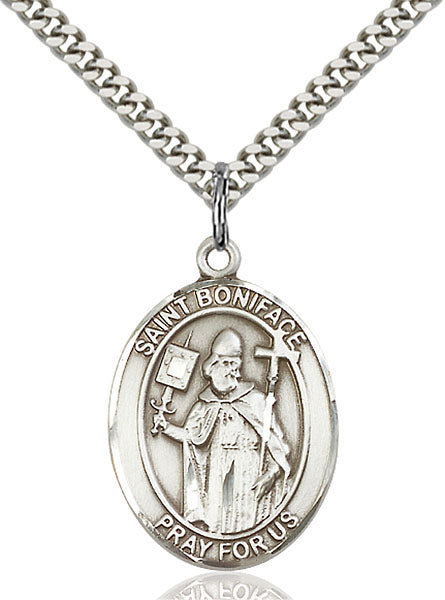 Sterling Silver Saint Boniface Necklace Set