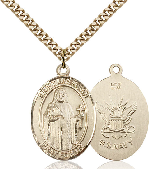Gold-Filled Saint Brendan the Navigator Navy Pendant