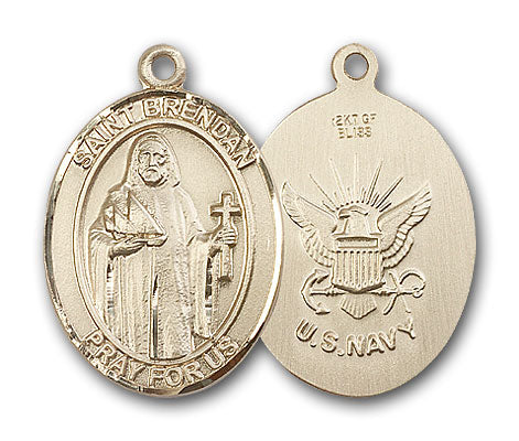 14K Gold Saint Brendan the Navigator Navy Pendant