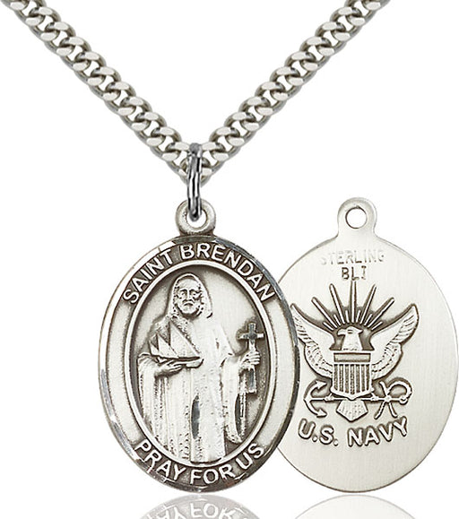 Sterling Silver Saint Brendan the Navigator Navy Necklace Set
