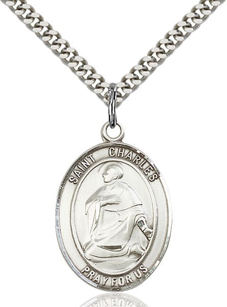 Sterling Silver Saint Charles Borromeo Necklace Set