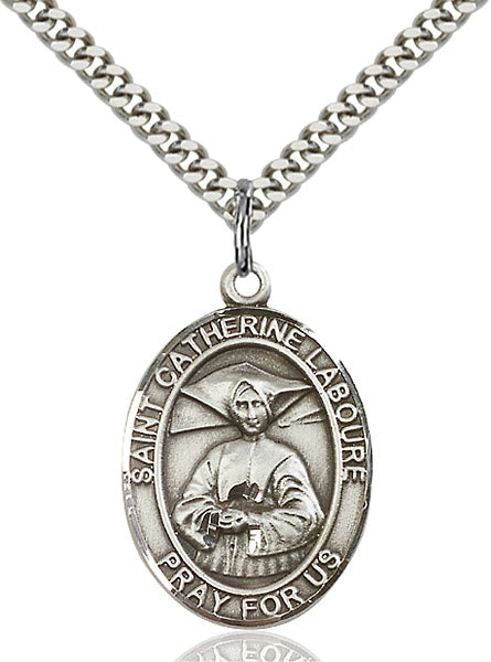 Sterling Silver Saint Catherine Laboure Necklace Set