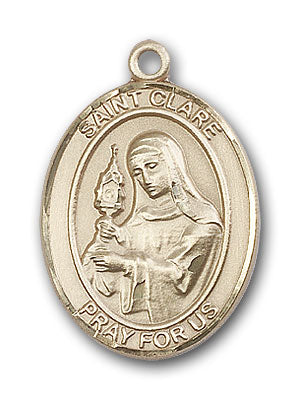 14K Gold Saint Clare of Assisi Pendant