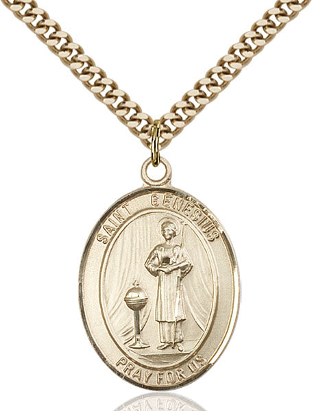 Gold-Filled Saint Genesius of Rome Necklace Set