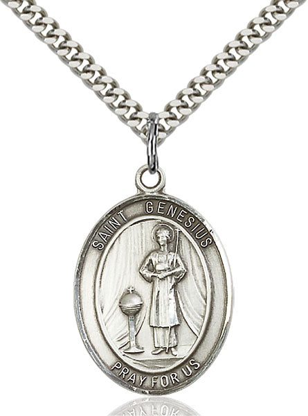 Sterling Silver Saint Genesius of Rome Necklace Set