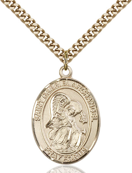 Gold-Filled Saint Gabriel the Archangel Necklace Set