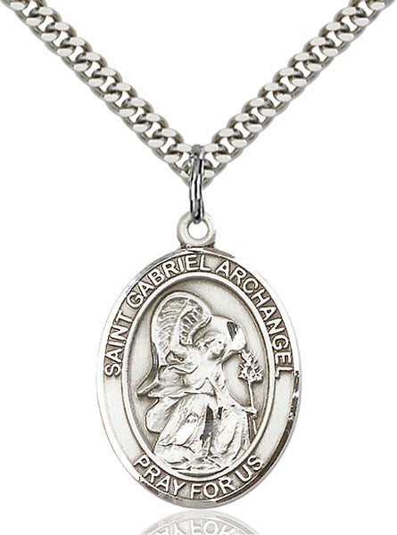 Sterling Silver Saint Gabriel the Archangel Necklace Set