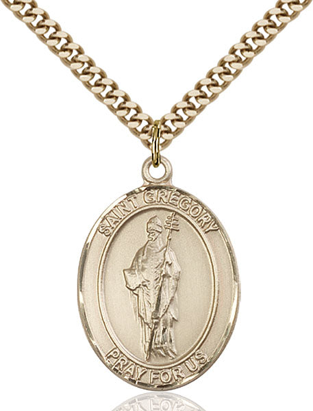 Gold-Filled Saint Gregory the Great Necklace Set