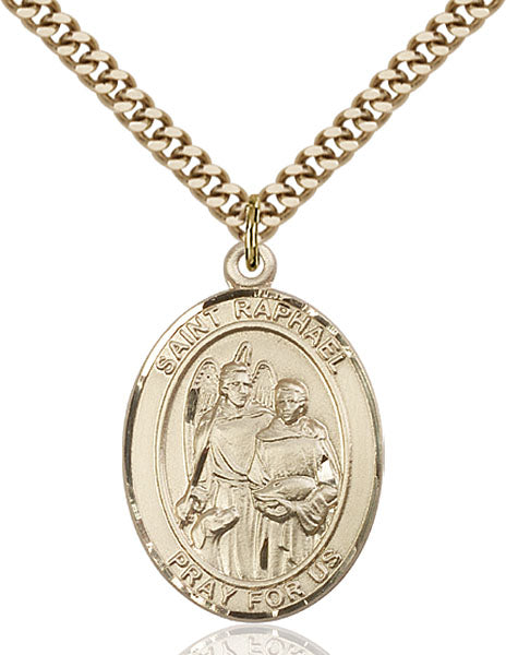 Gold-Filled Saint Raphael the Archangel Necklace Set