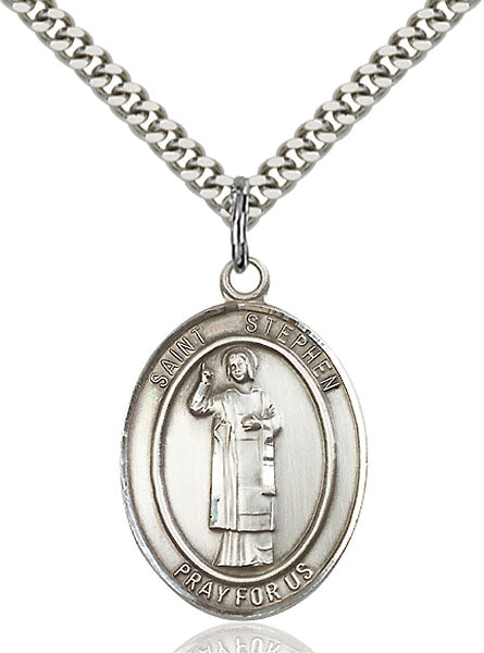 Sterling Silver Saint Stephen the Martyr Necklace Set