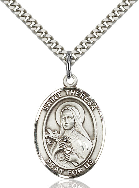 Sterling Silver Saint Theresa Necklace Set