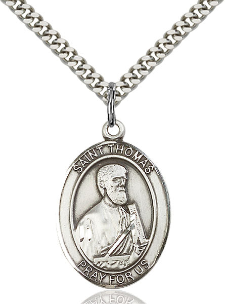 Sterling Silver Saint Thomas the Apostle Necklace Set