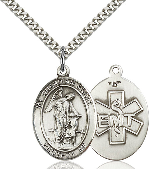 Sterling Silver Guardian Angel, Angel Jewelry Emt Necklace Set