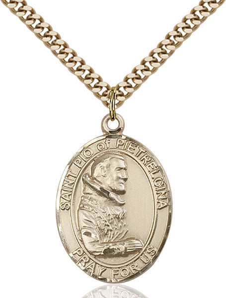 Gold-Filled Saint Pio of Pietrelcina Necklace Set