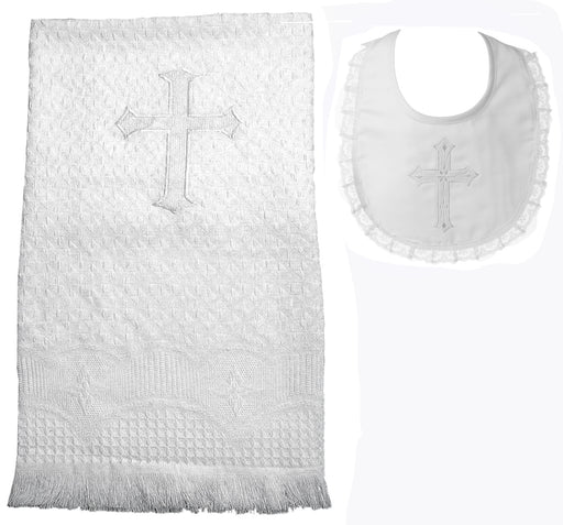 Baptism Acrylic blanket with embroidered cross and girls lace bib set