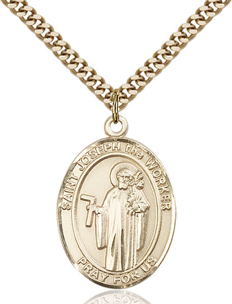 Gold-Filled Saint Joseph The Worker Necklace Set