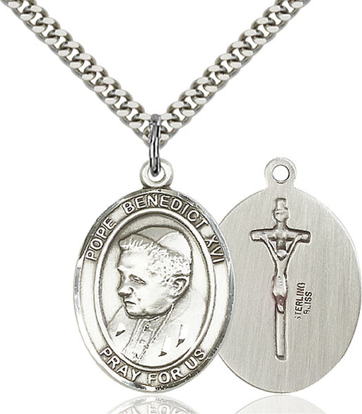 Sterling Silver Pope Benedict XVI Necklace Set