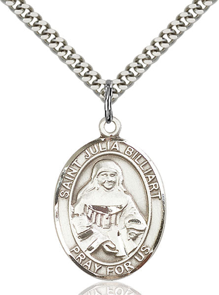 Sterling Silver Saint Julia Billiart Necklace Set