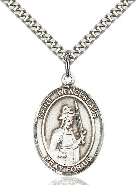 Sterling Silver Saint Wenceslaus Necklace Set