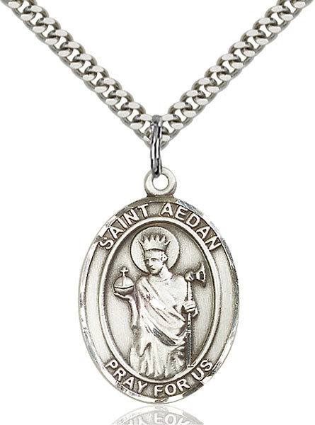 Sterling Silver Saint Aedan of Ferns Necklace Set