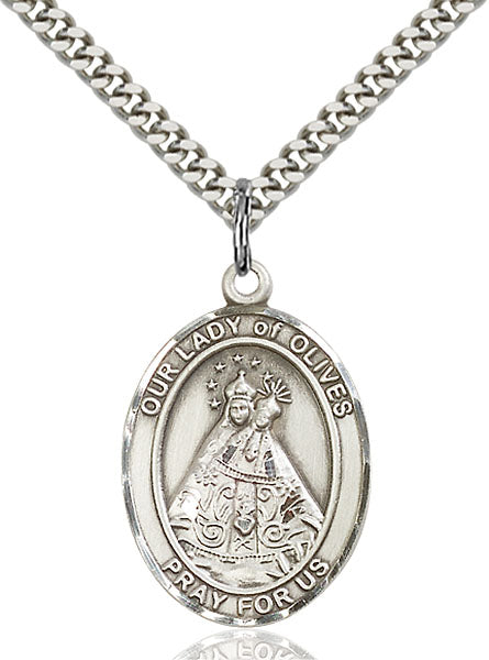 Sterling Silver Our Lady of Olives Necklace Set