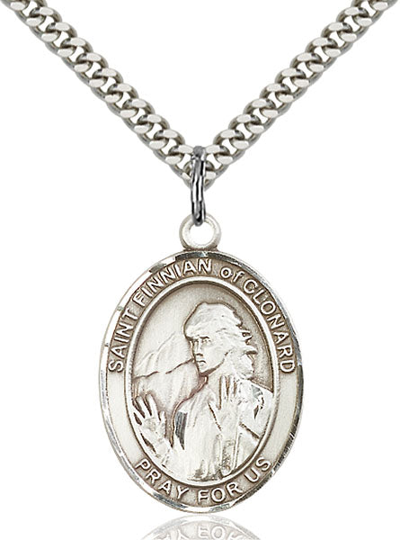 Sterling Silver Saint Finnian of Clonard Necklace Set