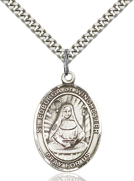 Sterling Silver Saint Edburga of Winchester Necklace Set