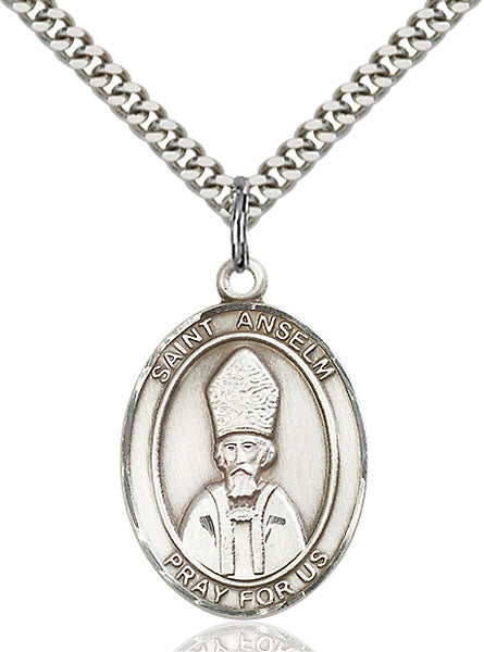 Sterling Silver Saint Anselm of Canterbury Necklace Set