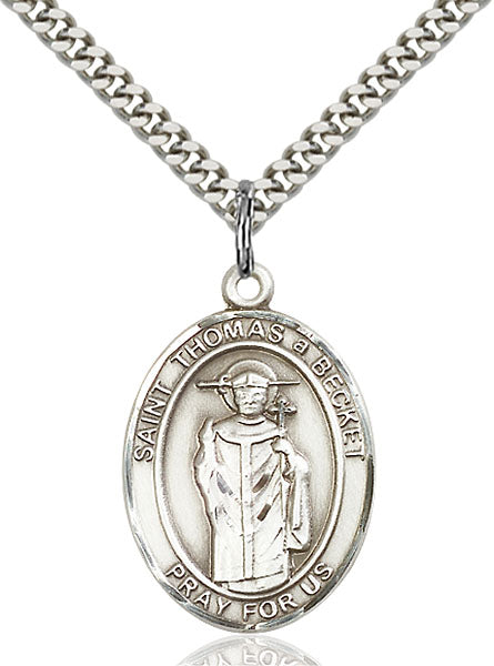 Sterling Silver Saint Thomas A Becket Necklace Set