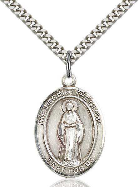 Sterling Silver Virgin of the Globe Necklace Set