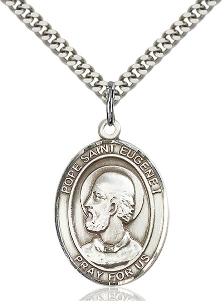 Sterling Silver Pope Saint Eugene I Necklace Set