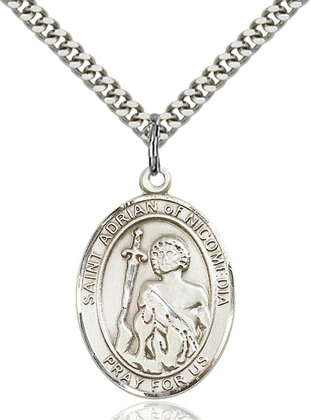 Sterling Silver Saint Adrian of Nicomedia Necklace Set