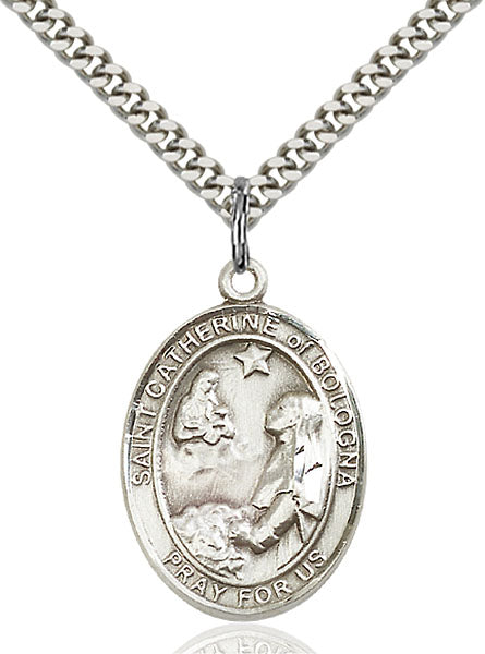 Sterling Silver Saint Catherine of Bologna Necklace Set