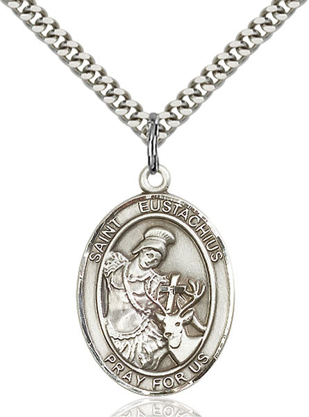 Sterling Silver Saint Eustachius Necklace Set