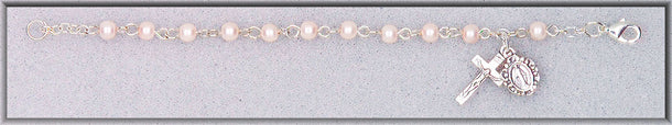 Lt Rose Glass Pearl Bead 5.5-inch Brac with Box