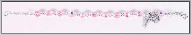 Lght Rose Crystal Bead Bracelet 5.5-inch Boxed