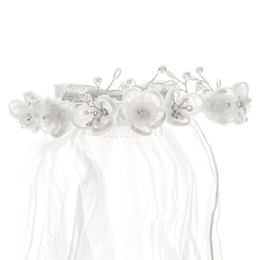 First Communion Organza Corsage Floral Wreath Veil with streamers
