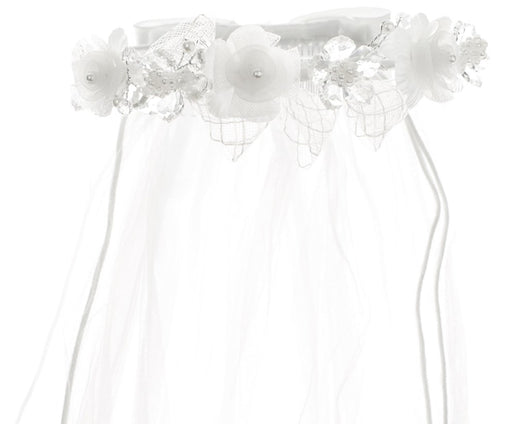 Crystal and Organza Floral Wreath Veil with Lace Bow